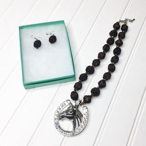 Horse Pendant Necklace and Earring Set